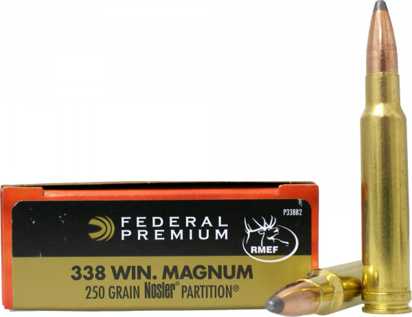 Federal Premium 338 Win Mag 16 20g 250grs Nosler Partition 0