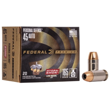 opplanet federal premium personal defense pistol ammo 45 acp hydra shok jacketed hollow point 165 grain 20 rounds pd45hs3 h main